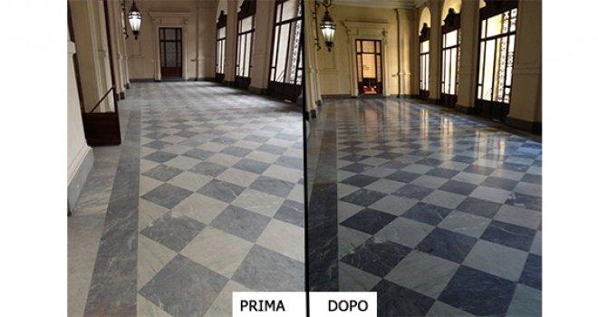 trattamento pavimento in marmo prima e dopo