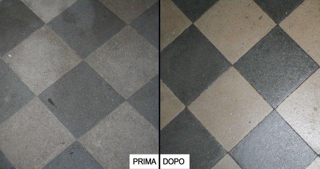 trattamento pavimento prima e dopo